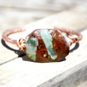 Chrysoprase Copper Cuff Bracelet Boho Healing